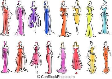 rys, fason, barwny, wzory, styl, stroje