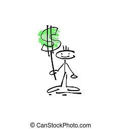 rys, figura, dolar, ręka, wtykać, ludzki, uśmiech, znak, rysunek