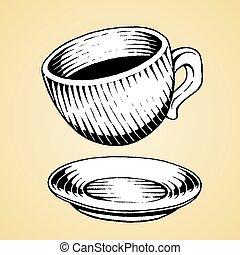 rys, filiżanka, kawa, atrament, biały, napełniać