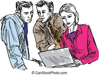 rys, handlowy, pracujące ludzie, pomyślny, biuro., laptop, ilustracja, wektor