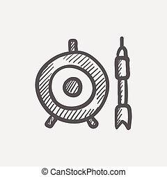 rys, ikona, tarcza, strzała, deska