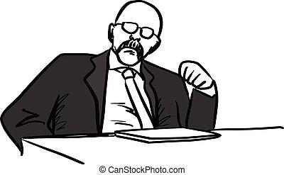 rys, jego, pięść, pokaz, łysy, kwestia, odizolowany, ilustracja, ręka, dyrektor, wektor, czarne tło, pociągnięty, biały