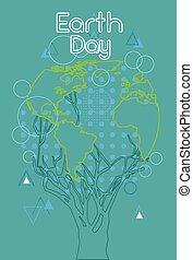 rys, kula, drzewo, zielony, świat, obsypać dzień