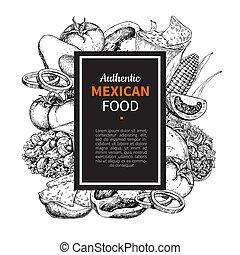 rys, meksykanin, frame., jadło, cuisines, etykieta, tradycyjny, rysunek