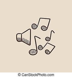 rys, muzyka notatnik, icon., loudspeakers