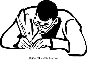 rys, pisanie pióro, człowiek, lotka, okulary