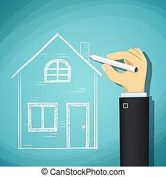 rys, pociąga, architecture., sto, house., ręka, projektować, ludzki