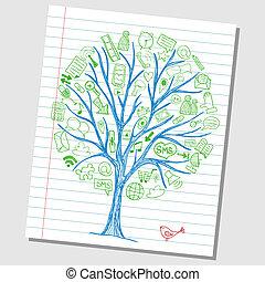 rys, pociągnięty, dookoła, ikony, media, -, drzewo, ręka, towarzyski, doodles