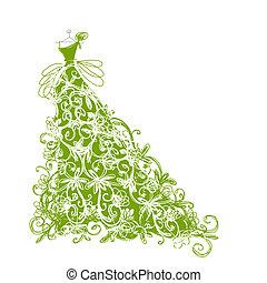 rys, projektować, kwiatowy, zielony strój, twój