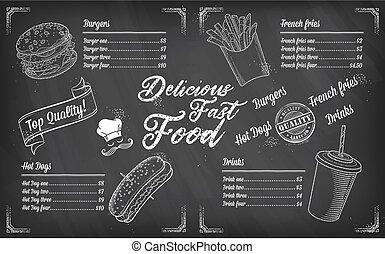 rys, restauracja, jadło, menu, mocny, wektor, szablon