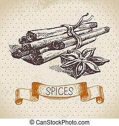 rys, rocznik wina, ręka, zioła, cynamon, tło, pociągnięty, spices., kuchnia