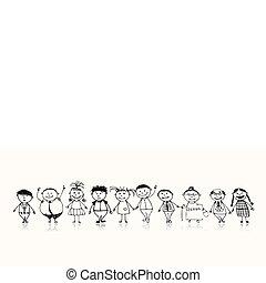 rys, rodzina, cielna, razem, uśmiechanie się, rysunek, szczęśliwy