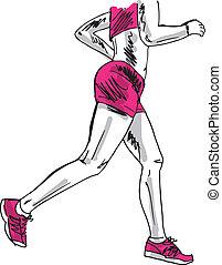 rys, runner., ilustracja, wektor, samica, maraton