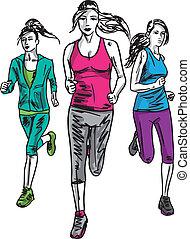 rys, runners., ilustracja, wektor, maraton, kobiety