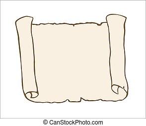 rys, starożytny, odizolowany, tło., woluta, biały