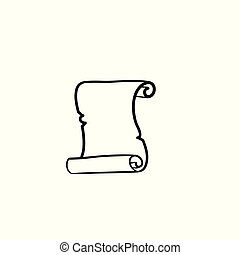 rys, stary, ręka, papier, pociągnięty, icon., woluta