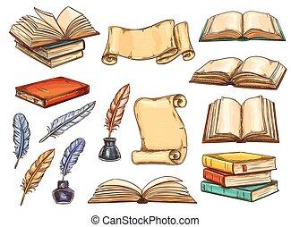 rys, stary, rocznik wina, książka, pióro, pióro, woluta