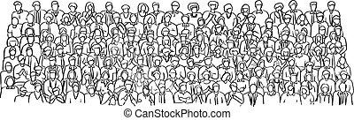 rys, tłum, handlowy zaludniają, doodle, kwestia, odizolowany, ilustracja, ręka, wektor, czarne tło, pociągnięty, biały, spotkanie pokój