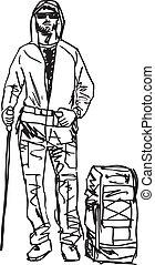 rys, wektor, backpacker., ilustracja