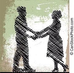 rys, wektor, para., ilustracja, taniec