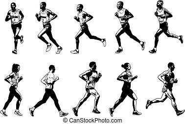 rys, zbiór, biegacze, ilustracja