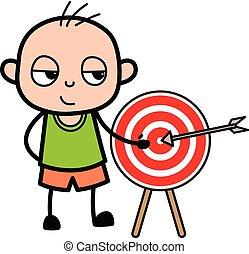 rysunek, łysy, pokaz, gol, chłopiec, dart-board