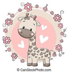 rysunek, żyrafa, sprytny