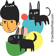 rysunek, człowiek, litera, pies, kot