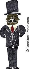 rysunek, człowiek, retro, garnitur