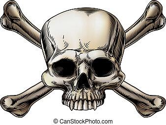 rysunek, czaszka crossbones
