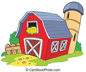 rysunek, czerwona stodoła