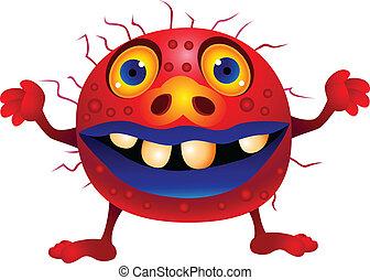 rysunek, czerwony, potwór