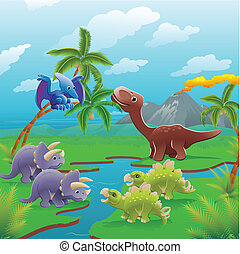 rysunek, dinozaury, scene.