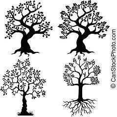 rysunek, drzewo, sylwetka