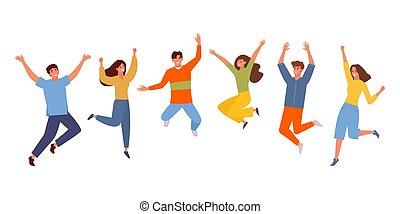 rysunek, dziewczyna, celebrowanie, radość, skokowy, kolor, razem, szczęśliwy, radosny, ludzie, święcenia, wektor, graphics., drużyna, facet, success., set., studenci, uśmiechanie się, zwycięstwo, wiek dojrzewania, zabawny, młody