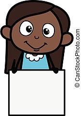 rysunek, dziewczyna, czarnoskóry, czysty, deska, pokaz