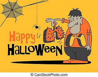 rysunek, halloween., halloween, szczęśliwy, thorns., płuco, cielna, dzierżawa, tytuł, potwór