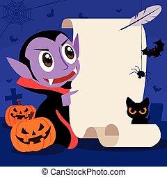 rysunek, halloween., papier, szczęśliwy, sprytny, retro, grób, dracula, pióro, pióro, tło, strzyga, szyld