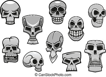 rysunek, halloween, straszliwy, ludzki, czaszki