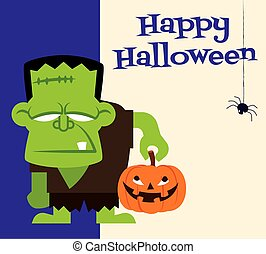 rysunek, halloween., szczęśliwy, dynia, frankenstein, dzierżawa, litera, potwór