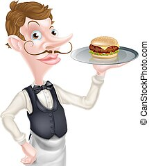 rysunek, hamburger, kelner