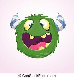 rysunek, ilustracja, rogaty, monster., wektor, zielony, odizolowany