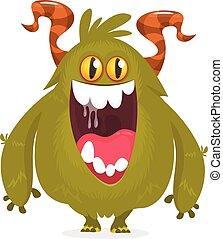 rysunek, ilustracja, wektor, monster., zabawny