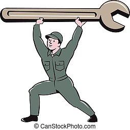 rysunek, klucz do nakrętek, szarpnąć, mechanik, podnoszenie