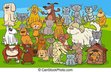 rysunek, koty, litery, komik, psy, grupa