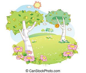 rysunek, krajobraz, piękny, drzewa