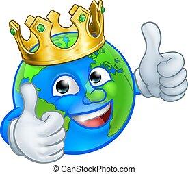 rysunek, kula, maskotka, litera, ziemia, król, świat