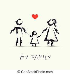 rysunek, mój, dzieci, rodzina, szczęśliwy
