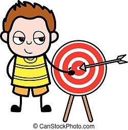 rysunek, młody, pokaz, gol, chłopiec, dart-board