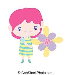 rysunek, mały, piękny, dzierżawa, chłopiec, sprytny, kwiat